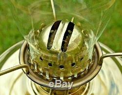 Vintage Brass Corinthian Column Oil Lamp. Clear Glass Shade. English Burner