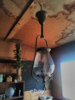 Vintage Brass gas oil Hanging Parlor lamp with glass original