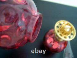 Vintage Fenton For L. G. Wright Cranberry Thumbprint Glass Miniature Oil Lamp
