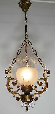 Vintage French Bronze Faux Oil Lamp Pendant Light