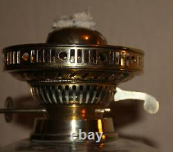 Vintage Marble Column Duplex Oil lamp With Vintage French Vianne Etched Shade
