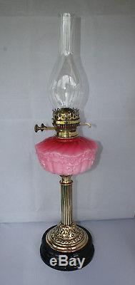 Vintage Victorian Cranberry Milk Glass Oil Lamp Double Burner