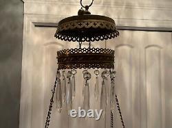 Vintage Victorian Crystal Hanging Brass Floral Parlor Kerosene or Oil Lamp A