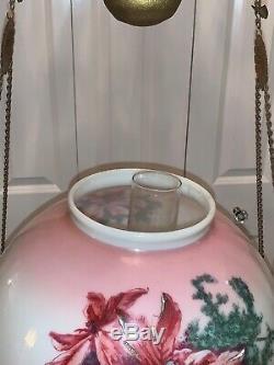 Vintage Victorian Crystal Hanging Brass Floral Parlor Kerosene or Oil Lamp B