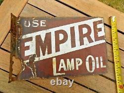 Vintage Victorian Enamel Advertising Sign'Empire Bearneck Lamp Oil