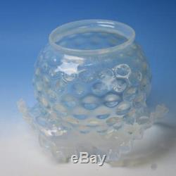 Vintage Victorian Opalescent Swirl Crimped Gas and Oil Lamp 3 Glass Shades