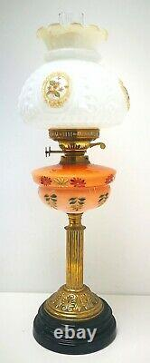 Vintage Victorian Paraffin Oil Lamp Brass Handpainted Coloured Glass Electric