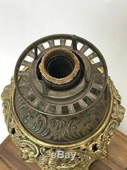 Vtg B&H Banquet Oil Lamp Parlor Piano Gold Victorian Baroque Regency Hurricane