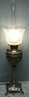 Vtg Banquet Parlor Oil Lamp Nickel Metal Round Etched Shade Tall Hurricane Elec