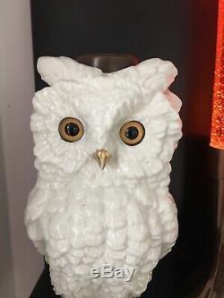 White ceramic oil lamp owl