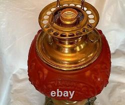 X-LARGE Antique Victorian RUBY RED GLASS MILLER Kerosene Oil Lamp Banquet GWTW