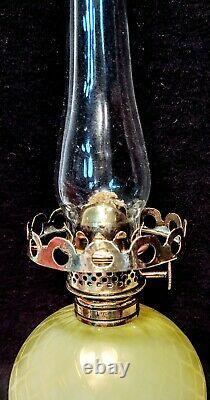 Yellow Mother of Pearl Diamond Optic Air Trap miniature Victorian Oil Lamp RARE